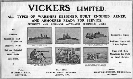 Vickers Advertisement from  Janes Fighting Ships1914