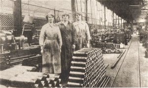 women working in shell production