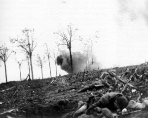 devastation of countryside due to excessive shelling in 1915