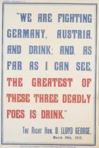 Poster quoting Lloyd George and the 'enemy' drink