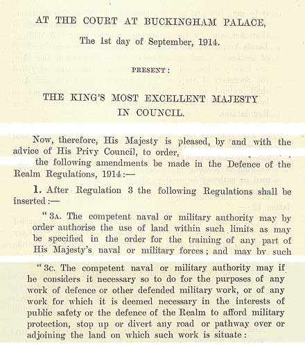The introductory Defence of the Realm Act 1914