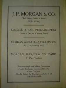 JP Morgan & Co. advertisement covering several of his related companies