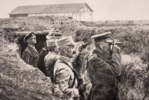 Lord Kitchener with General Joffre observing near the front