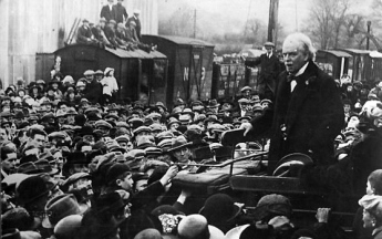Lloyd George as a public orator, speaking outdoors in Wales in  1919