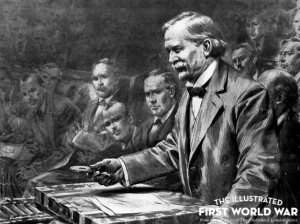 Lloyd George at dispatch box in his role of Minister of Munitions.