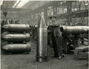 Heavy ordnance shells being produced in 1916
