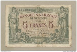 5 Franc Note from Banque Nationale de Belgique planned in advance of the war.