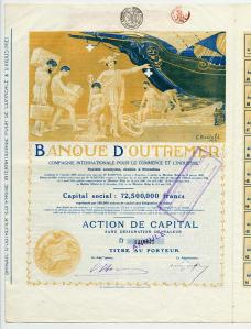 Certificate of capital investment from the Banque D' Outremer.