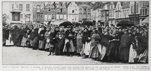 Food was handed out free to the verifiably poor and destitute only. Here at Malines the locals are lined up at the police station to receive their allocation.