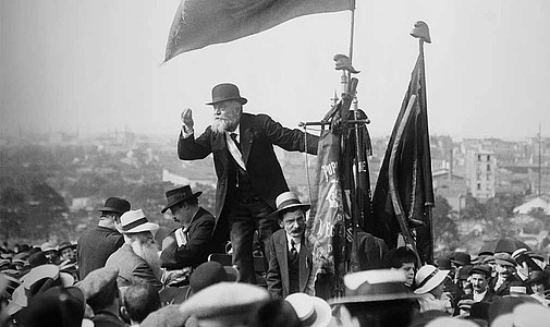 French socialist and pacifist Jean Jaurès pleading for peace. Assassinated 29 July 1914