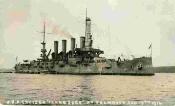 USS Tennessee sent to Britain with £2,500,00 of gold to assist stranded Americans in august 1914