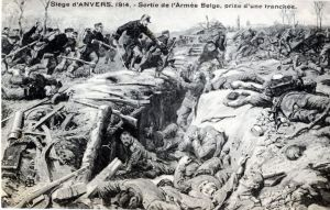 Image of Belgian Army attacking German trenches in 1914.