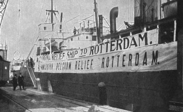 A Belgian Relief Ship clearly identified so that U-Boats would leave intact.