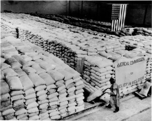 Stock-piles of flour in Brussels. Note that the sign states 'American Commission for Relief in Belgium', which irked the Belgian CNSA