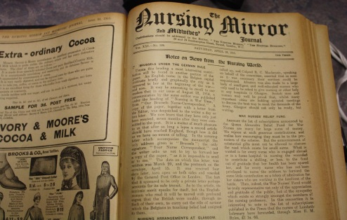 Nursing Mirror and Midwives Journal photographed at the Royal College of Nursing Archives in Edinburgh