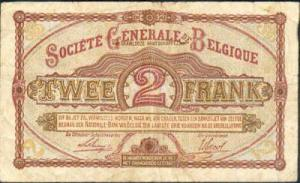 Societe Generale Banknote from 1916. It was the only accepted banknote printed in Belgium at the time.