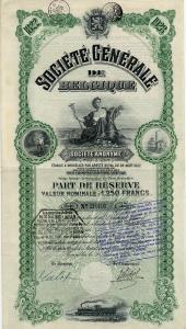 Share certificate from Francqui's Societe Generale de Belgique