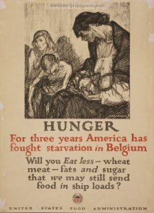 Propaganda poster blazing the word starvation to ignite alarm