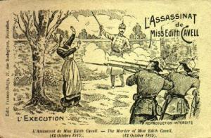 Postcard image of the execution of Edith Cavel,; note that it is called an assassination.
