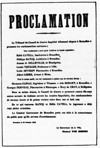 Brussels Proclamation signed by General von Bissing announcing the sentences of the court and indicating that Edith Cavell and Philippe Baucq had been shot.