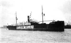 Belgian Relief ship, part of the enormous fleet gathered by Herbert Hoover to supply food to Belgium AND to Germany.