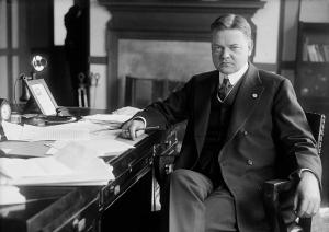 A serious Herbert Hoover - a man whose reputation the Secret Elites vigorously defended.