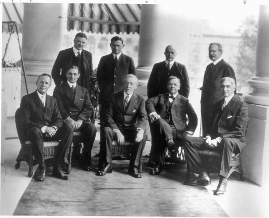 Herbert Hoover (back row left ) with Woodrow Wilson (front centre) in cabinet photograph.