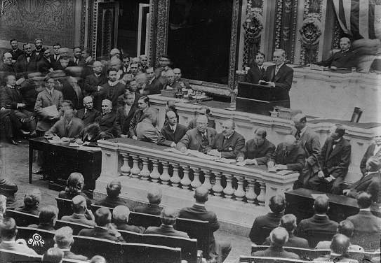 Woodrow Wilson asking Congress to declare war on Germany, 2 April, 1917.