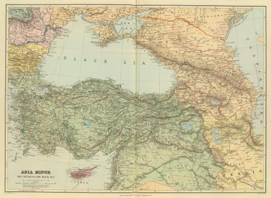 This early 20th century map shows Romania and its access to the Danube on the left, and Baku on the Caspian Sea on there right. The distances between here and Germany were formidable.