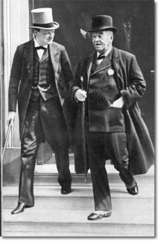 Winston Churchill and Admiral lord Fisher leaving the Admiralty in 1914.