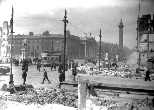 Sackville Street looking towards the GPO in the aftermath of the Easter Rising