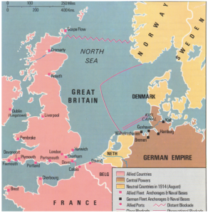 Map of the North Sea showing both distant and close blockade lines in 1914-1916