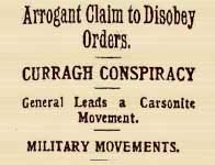 Headline on Curragh Mutiny