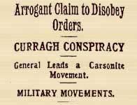 Headline on Curragh Mutiny