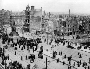 Dublin May 1916. The damage in central Dublin was extensive around O'Connell Bridge