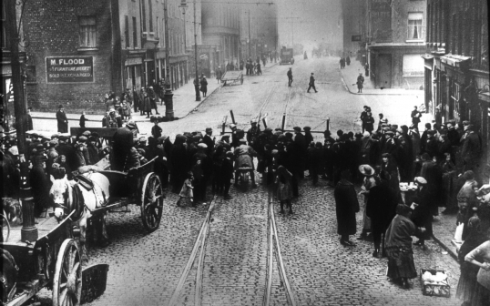 Police Blockade in Dublin 1916.