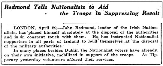 Redmond condemns the Rebels.
