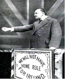Sir Edward Carson in full flow; Note the absolute determination to reject Home Rule
