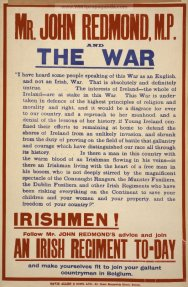 The War - Irish Poster underlining John Redmond's commitment