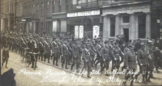 UVF marching in Belfast. Carson's men were well-armed and well disciplined.