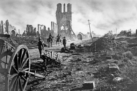 Ypres in ruins. The lonely skeleton of St Martin's church shocked Buchan