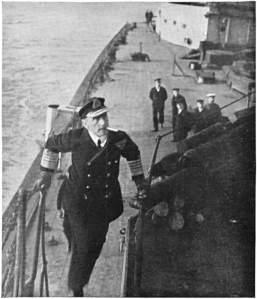 Admiral Jellicoe onboard in calmer waters.