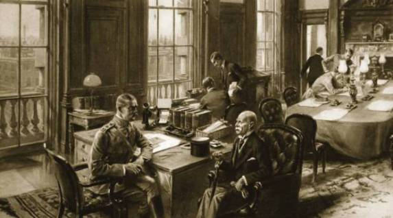 Illustration showing Lord Kitchener receiving Lord Roberts in his desk in the War Office.