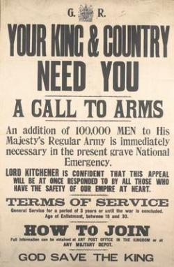 The first call to arms in 1914.