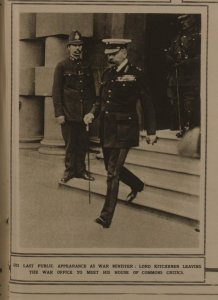 Kitchener on way from War Office to address MPs in May 1916.