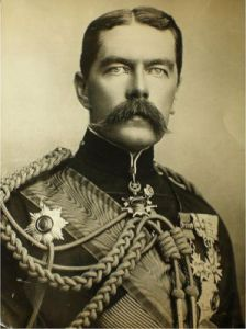 Lord Kitchener, resplendent in his uniform remained a popular figure with the public and the troops.