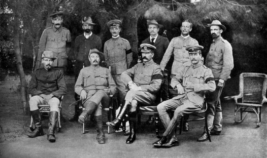 Kitchener sitting comfortably with the Boer leaders at the Treaty of Vereeniging. Milner was angry at his intervention.