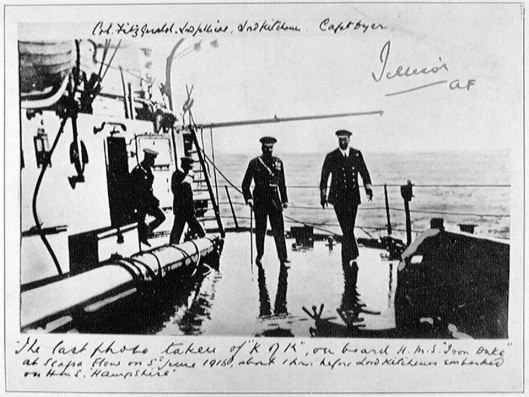 Famous last picture of Kitchener aboard HMS Iron Duke, Admiral Jellicoe's flagship.