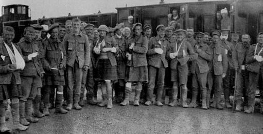 Loos casualties. The luckier few - the walking wounded. Casualties were enormous.