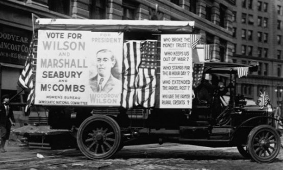 President Wilson's election campaign in 1916 stressed that he kept the nation out of the world war.